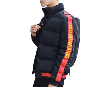 ZUOMAメンズ ダウンコート 綿入れ上着 冬保温ジャケット 軽量ダウンコート 青少年 (XL, ブラック2)