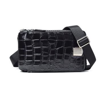 LANZA (ランザ) ボディバッグ エンボスレザー Shining Black クロコダイル バッグ 鞄 専用BOX付属