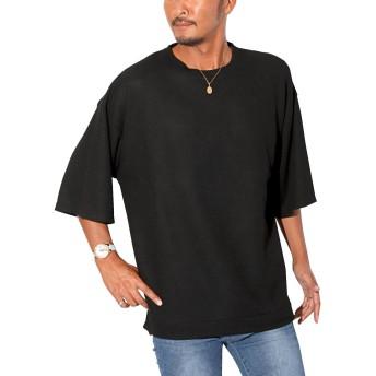 LUX STYLE(ラグスタイル) ニット メンズ セーター サマーニット オーバーサイズ 無地 ブラックL