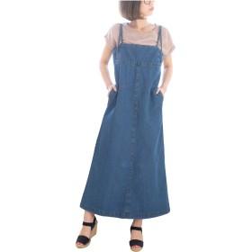 [クロスマーベリー] デニム サロペット オールインワン ジャンパースカート オーバーオール ジャンスカ サロペ コンビネゾン 背面ファスナー おしゃれ かわいい ゆったり 楽ちん 大人 カジュアル レディース 女性 ガールズ (W66 ブルー 3L)