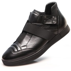 [MERLIN] 6cmUP メンズ シークレットブーツ カジュアル スケートボードシューズ 本革ブーツ スニー カー (24.5, ブラック)