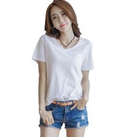 Alppv レディース Tシャツ 半袖 夏 ゆったり アウター 無地 トップス ゆったり シャツ Vネック 半袖 白 tシャツ 韓国 綿 ファション カジュアル シャツホワイトAL-3