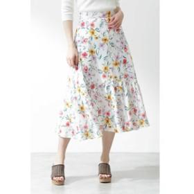 【PROPORTION BODY DRESSING:スカート】《EDIT COLOGNE》フラワーティアードロングスカート