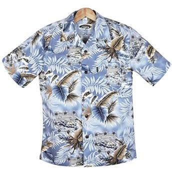 メンズアロハシャツ アイスブルー/葉・花柄アロハシャツ ◆Ice Blue◆ハワイ仕入 大きいサイズ有 (US Mサイズ)