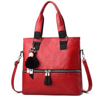 NICOLE & DORIS 柔らかい トートバッグ A4サイズ ビジネスバッグ 肩掛け レディース ショルダーバッグ 可愛い 飾り ハンドバッグ 2way 大容量 通勤 防水 PUレザー 赤