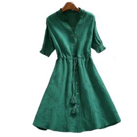 美しいです] レディース ワンピース 半袖 夏 秋 冬 Aライン スリム ひざ丈 フリンジ 綿麻 (濃いグリーン, XL)
