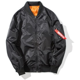 メンズ フライトジャケット ボンバージャケット MA-1 ジップアップ 無地 防寒 カジュアル ライダース コート アウター ブルゾン L ブラック