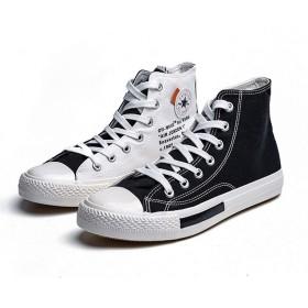 [D.IIZOO] 7cm 5cm身長アップ シークレットシューズ スニーカー メンズ ハイカット キャンバスシューズ カジュアル 背が高くなる靴 (27, 黒と白)