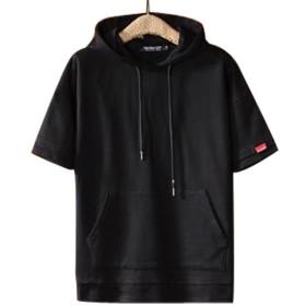 GuDeKe 吸汗 速乾 メンズ 半袖 パーカー トップス Tシャツ 大きいサイズ フード付き レイヤードフェイク 男女兼用 ゆったり 全5色 カットソー 薄手 おしゃれ ブラックXL