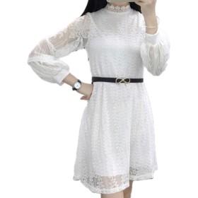 (エンジェルムーン) AngelMoon ワンピース ドレス レース ベルト付き レディース (M, 白)
