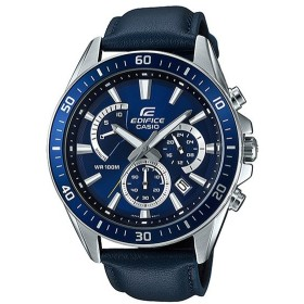 CASIO カシオ エディフィス EFR-552L-2A 腕時計 10年保証 メンズ クロノグラフ アナログ 防水 シルバー ネイビー レザー 革ベルト