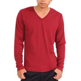 (スペイド) SPADE Tシャツ メンズ 長袖 Vネック ロングTシャツ 無地 プレーン【w188】 (XL, V×ワイン)