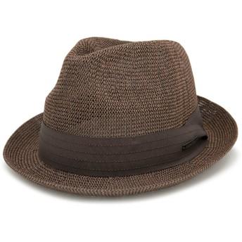 ハット 春夏 帽子 メンズ 麦わら帽子 Edgecity ベーシックサーモストローハット LL2.ブラウン