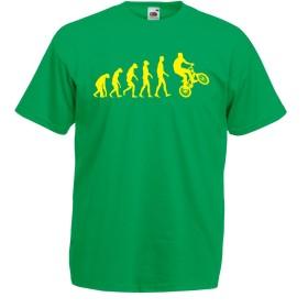 男性用Tシャツ自転車の進化 (M 緑色多色)