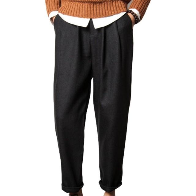 メンズ ワイドパンツ 麻 チノパン シルエット イージーパンツ スウェット ズボン 4色 5サイズ 秋冬用 (m, ブラック)