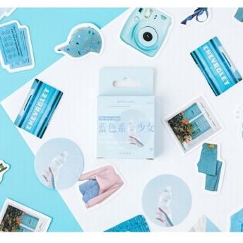 ステッカー フレークシール シール 46枚セット 夏 サマー ブルー 青色 海 空 リメイク アレンジ 手帳 手紙 レター ノート