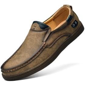 [GoldFlame-JP] ビジネスシューズ 革靴 メンズ ドライビングシューズ ウォーキングシューズ カジュアル ビジネス レザー クッション性 履き心地いい 滑り止め 防水 通気性 デイリー 仕事 フォーマル 紳士靴 大きいサイズ ダークブラウン
