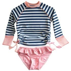 女の子 ワンピース 水着 キッズ ラッシュガード水泳 スイムウェアベビー 子供 セパレート 長袖 スクール水着 紫外線カット 帽子付き 2点/3点セット (6タイプ&6色 90~160cm ) (A-条紋, 130CM)