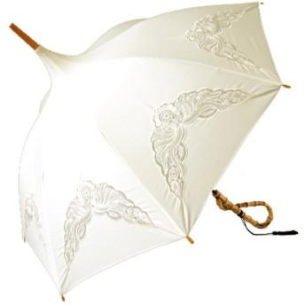 クラシコ パゴダ バンブー持ち手 レース刺繍 オーガンジーレース 上品 タッセル付き レトロ 高級日傘 かさ カサ 傘 レディース 日傘 パラソル (02 ホワイト)
