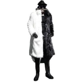 [呉屋デパート] メンズ アウター ファーコート 毛皮コート ロングコート フェイクファー付き 毛皮襟 ゴージャス ロングコート 男性用スマイルファーロングコート ブラック/ホワイト XXL