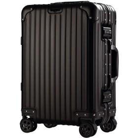 ノーブランド品 メンズ アルミマグネシウム合金スーツケースキャリーケース出張旅行バッグ機内持ち込み可TSAロック搭載静音キャスター鏡面SMサイズファスナーレス(S、ブラック)