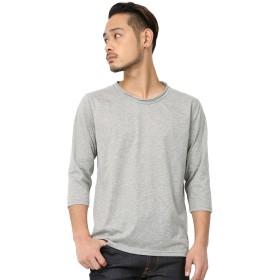 [アールディ.ゴースト] Tシャツ 7分袖 無地 クルーネック メンズ 杢グレー Lサイズ