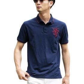 (ロンドンデニム) London Denim メンズ ポロシャツ WEB限定 London Denim オリジナル ライオン 刺繍入り 鹿の子 半袖 ポロシャツ LD-PL-035 XL ネイビー