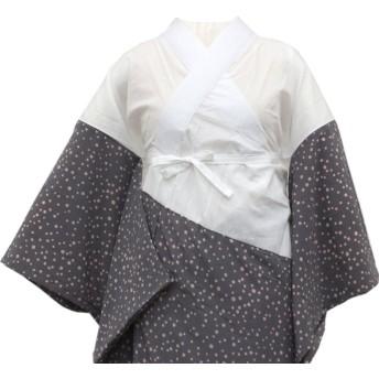 きもの京小町 洗える 長襦袢 レディース 仕立て上がり 濃いグレー ドット Mサイズ 衣紋抜き 半衿つき 日本製