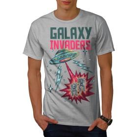 Wellcoda 銀河 インベーダー 男性用 グレー L Tシャツ