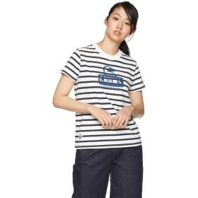 [チャムス] Tシャツ Booby Face T-Shirt レディース Navy Border 日本 L (日本サイズL相当)