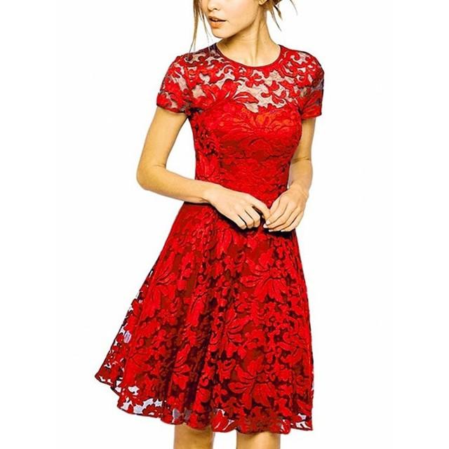 花柄レース 膝丈 ワンピースドレス