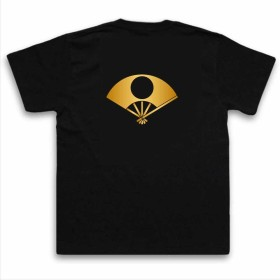 家紋TシャツTheC'mon【日の丸扇】(XXLサイズ黒Tシャツ)