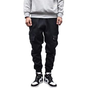 [ダーセン]パンツ メンズ ロングパンツ ミリタリー イージーパンツ 裏フリース 暖パン カーゴパンツ 裏 フリース 素材 メンズ ブラックM