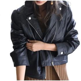 レザー ジャケット [Marshel] ライダースジャケット レディース ブラック フリーサイズ