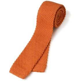 [タバラット] 日本製 ニットタイ ウール100 5.5cm幅 丸編み (オレンジ) Tps-041-or