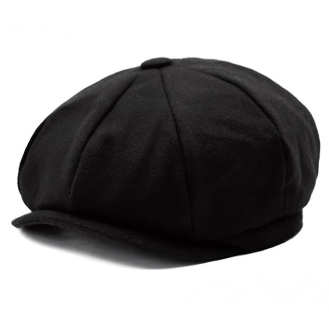Eternal Leaf キャスケット ハンチング 帽子 つば付き ベレー 帽 FT6608 (01.ブラック)