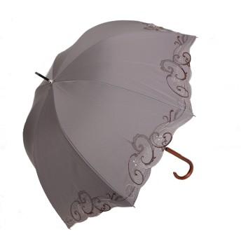 日傘 女優日傘 長日傘 完全遮光 遮熱 UVカット かわず張り 涼しい 晴雨兼用傘 特殊2重張り スワロフスキー 刺繍 (グレー)