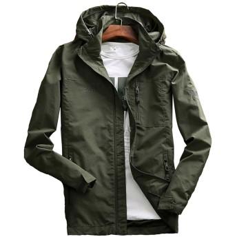 Aeneontrue メンズ パーカー ジャンパー ジャケット 長袖 フード付き ウィンドブレーカー アウトドア コート 刺繍 ファッション 4色展開(アーミーグリーン L)