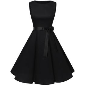 Homrain 結婚式 ワンピース ノースリーブ ひざ丈 Aライン リボン付き 50年代 ワンピース パーティードレス レディース ブラック XSサイズ