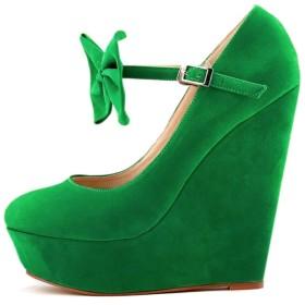 [Lydee] レディース クラシック パンプス ウェッジヒール アンクルストラップ パーティー 厚底 可愛い 蝶結び 靴 RonmianGreen Size 35