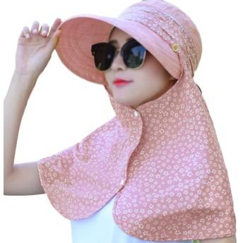 (デマ―クト)De.Markt シェード付きハット レディース 日焼け防止 花柄帽子 日よけ帽 UVカット 日除け帽 農作業ネックカバー 自転車 レインキャップ 紫外線対策ハット 小顔効果帽子