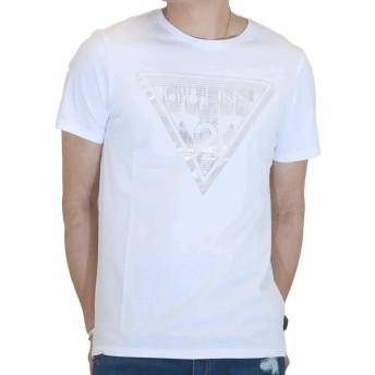 GUESS (ゲス) メンズ ショート スリーブ Tシャツ トライアングル レイヤー プリントM91391K3MZJ 半袖 シャツ ブラック・ホワイト (S, ホワイト)