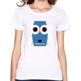 KY 女性着 U首シャツ 今季最新 Tシャツ ファインディング・ドリー 可愛い 金魚 プリント おしゃれ Tシャツ White 半袖シャツ 着心地が良い Size XXL