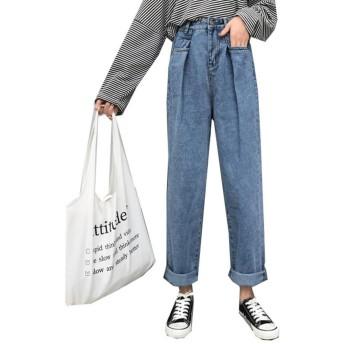 YiTong レディース デニム ズボン ジーンズ パンツ ゆったり ハイウエスト ワイドパンツ 女 ガウチョパンツ ストレートパンツ 九分丈 おしゃれ ファッション カジュアル ブルーT