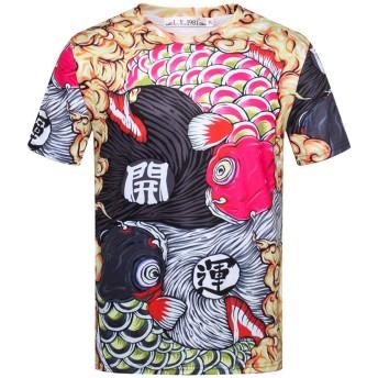 Pizoff(ピゾフ) メンズ 半袖Tシャツ 鯉柄 縁起いい おもしろ 派手 ビッグシルエット 男女兼用 カットソー お揃いAC148-04-XL