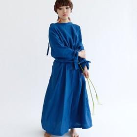 天然藍染ベルギーリネン2WAYコートワンピース:ajisai(ブルー)