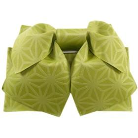 浴衣用 かんたん作り帯 麻の葉柄 結び帯 (C緑)