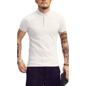 [ミックスリミテッド] ポロシャツ スリムフィット 半袖ポロ 無地 ロング丈 タイト 細身 ボタンダウン mix0007-WHT-XL