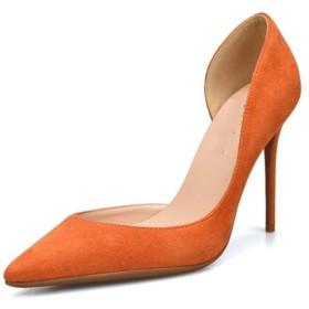 [EStart] レディスシューズ 女性のためのパンプスハイスティレットヒールサイドカット尖ったつま先ドレスサンダルレディースパーティー用結婚式の靴スリップオンスエードパンプス ファッション 快適 (Color : Orange 8 cm Heel, Size : 24 cm)