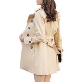 [美しいです] レディース トレンチコート スプリングコート ゆったり ジャケット チュニック ダスターコート カーキS
